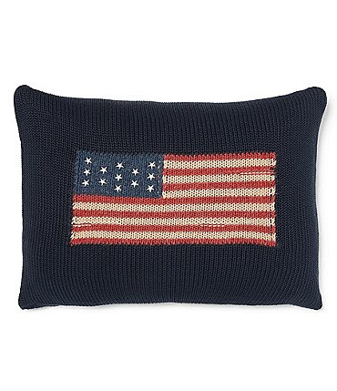Image of Ralph Lauren Saranac Peak Collection Parker Intarsia Flag Cotton & Wool Pillow