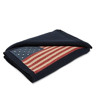 Image of Ralph Lauren Saranac Peak Collection Parker Intarsia Flag Cotton & Wool Throw Blanket