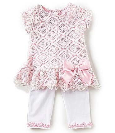 9a607f52e46 Image of Rare Editions Baby Girls 12-24 Months Diamond-Patterned-Lace Dress