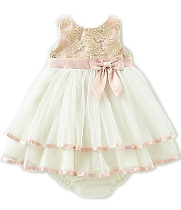 Image of Rare Editions Baby Girls 12-24 Months Embroidered/Solid Fit-And-Flare Dress