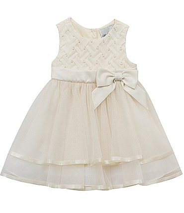 Image of Rare Editions Baby Girls 12-24 Months Faux-Pearl Basketweave Bodice/Mesh Fit-And-Flare Dress