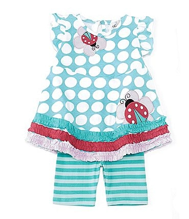 Image of Rare Editions Baby Girls 12-24 Months Flutter-Sleeve Polka-Dot Top & Striped Bike Shorts Set