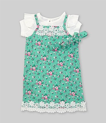 Image of Rare Editions Baby Girls 12-24 Months Short-Sleeve Bodysuit & Lace-Trim Floral Jumper Set