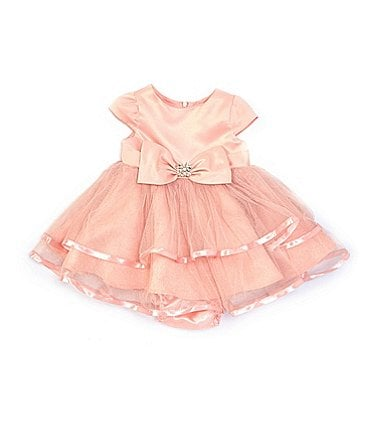 Image of Rare Editions Baby Girls 3-24 Months Bow-Waist Satin/Mesh Fit-And-Flare Dress
