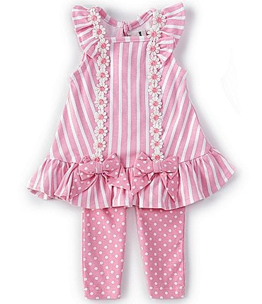 Image of Rare Editions Baby Girls 3-24 Months Bows Mixed-Striped Tunic Top & Dotted Leggings Set