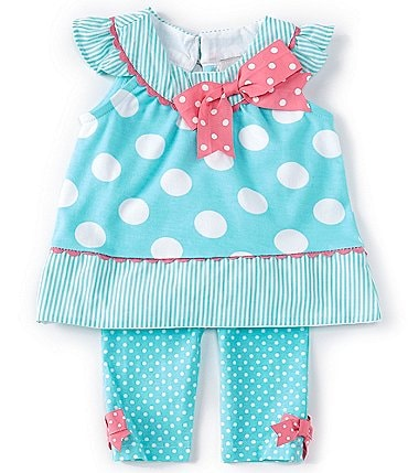 Image of Rare Editions Baby Girls 3-24 Months Dotted Tunic Top & Pindotted Leggings Set