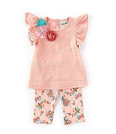 Image of Rare Editions Baby Girls 3-24 Months Flutter-Sleeve Geometric Eyelet Top & Floral Leggings Set