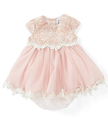 Image of Rare Editions Baby Girls 3-24 Months Glitter Lace/Mesh Fit-And-Flare Dress