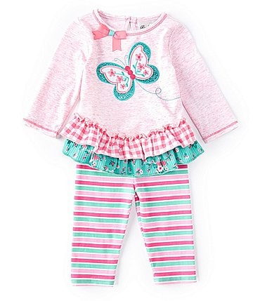 Image of Rare Editions Baby Girls 3-24 Months Long-Sleeve Butterfly Mixed-Media Top & Striped Leggings Set