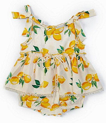 Image of Rare Editions Baby Girls 3-9 Months Lemon Skirted Romper