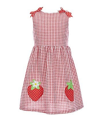 Image of Rare Editions Little Girls 4-6X Strawberry-Applique Checked A-Line Dress