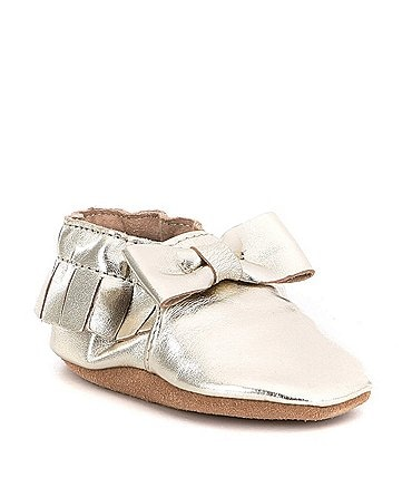 Image of Robeez Baby Girls' Newborn-24 Months Maggie Moccasin Bow Soft Sole Metallic Crib Shoes