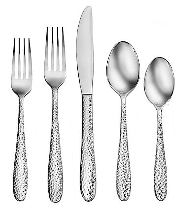 Image of Robinson Living by Robinson Stratham Hammered 50-Piece Stainless Steel Flatware Set