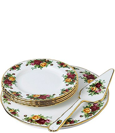 Image of Royal Albert Old Country Roses 6-Piece Cake Server Set