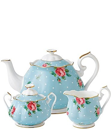 Image of Royal Albert Polka Blue 3-Piece Tea Set