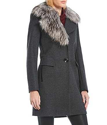 Image of Sam Edelman Faux Fur Asymmetrical Collar Single Breasted Coat