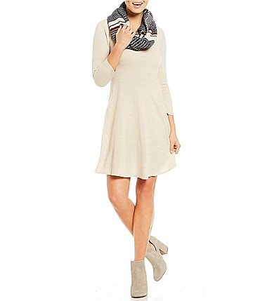 Image of Sequin Hearts Patterned Scarf Sweater Dress