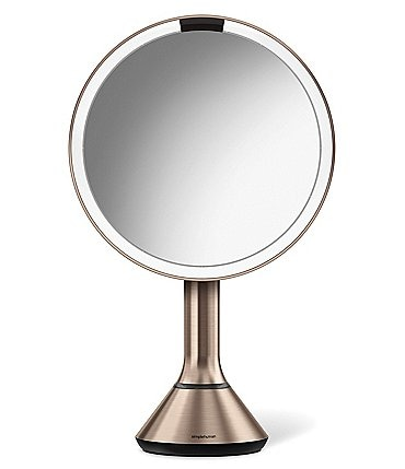 "Image of simplehuman Rose Gold 8"" Sensor Lighted Mirror with Brightness Control"