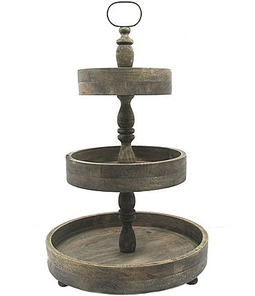 Image of Southern Living Festive Fall 3-Tier Wood Server
