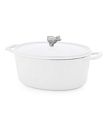 Image of Southern Living 7-Quart Cast Iron Oval Casserole with Pig Knob