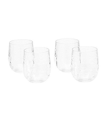 Image of Southern Living Acrylic Ribbed Stemless Wine Glasses