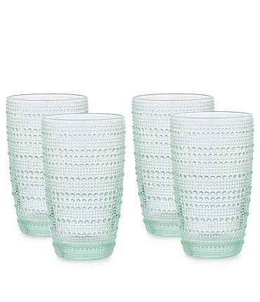 Image of Southern Living Beaded Highball Green Glasses, Set of 4
