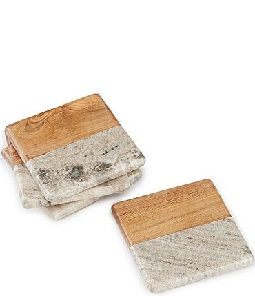 Image of Southern Living Beige Marble & Acacia Wood Square Coasters, Set of 4
