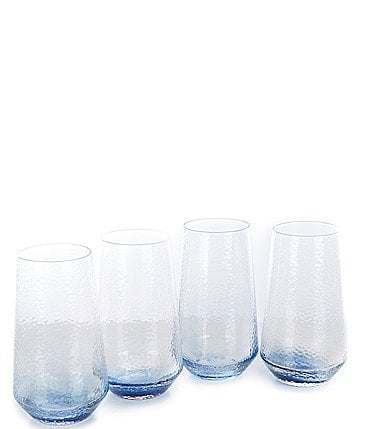 Image of Southern Living Blue Textured Highball Glasses, Set of 4