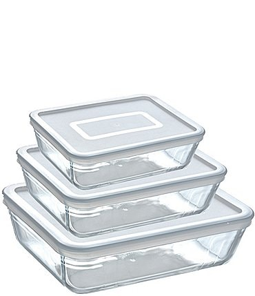 Image of Southern Living Borosilicate Glass Rectangle Baker with Lids, Set of 3