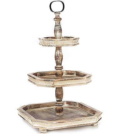 Image of Southern Living Spring Collection Burnt White Washed 3-Tier Square Wood Server