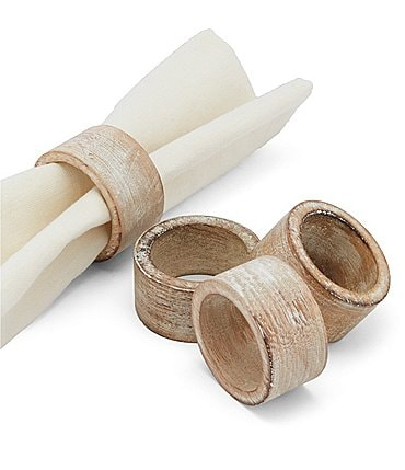 Image of Southern Living Festive Fall Burnt Whitewash Napkin Rings, Set of 4