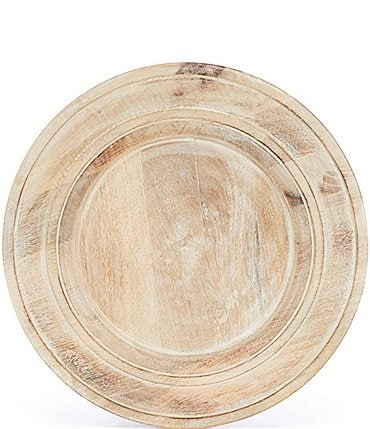 Image of Southern Living Festive Fall Burnt Whitewashed Mango Wood Charger Plate