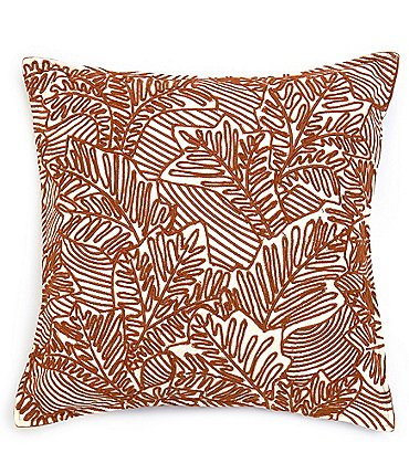 Image of Southern Living Festive Fall Collection Embroidered Leaf Square Pillow