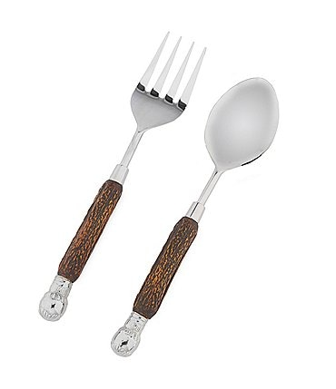 Image of Southern Living Horn Salad Spoon and Fork Servers with Resin Handle