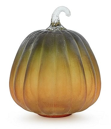 Image of Southern Living Festive Fall Collection Two-Tone Frosted Glass Pumpkin Sculpture