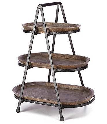 Image of Southern Living Forged 3 Tiered Oval Stand with Wood Trays