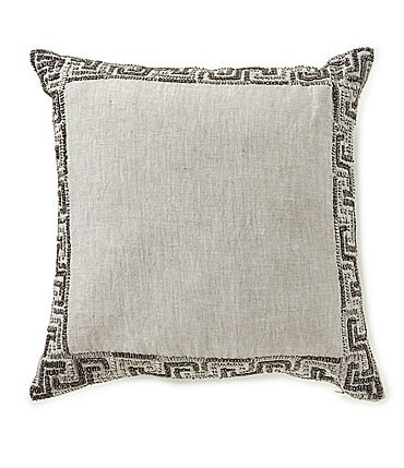 Image of Southern Living Greek Key Beaded Linen Square Pillow