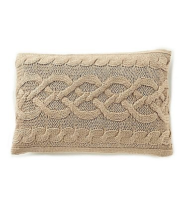 Image of Southern Living Lux Cable-Knit Feather Pillow