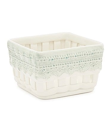 Image of Southern Living Lace-Painted Earthenware Square Basket