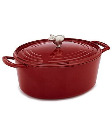 Image of Southern Living Pig-Knob Cast Iron Dutch Oven with Lid