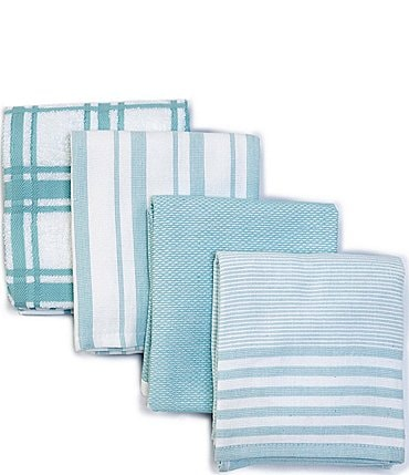 Image of Southern Living Plain Checked and Strpied Kitchen Towels, Set of 4