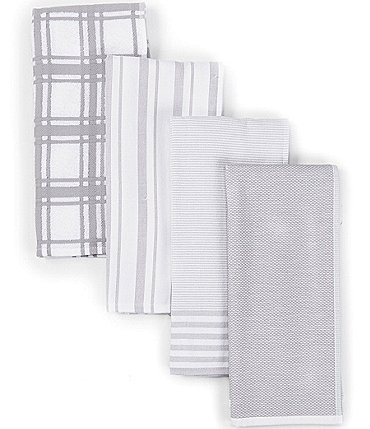 Image of Southern Living Plain Checked and Striped Kitchen Towels, Set of 4