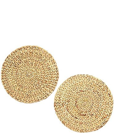 Image of Southern Living Round Woven Water Hyacinth Placemats, Set of 2