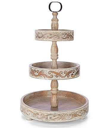 Image of Southern Living Scroll White Wash Mango Wood 3-Tier Carved Server