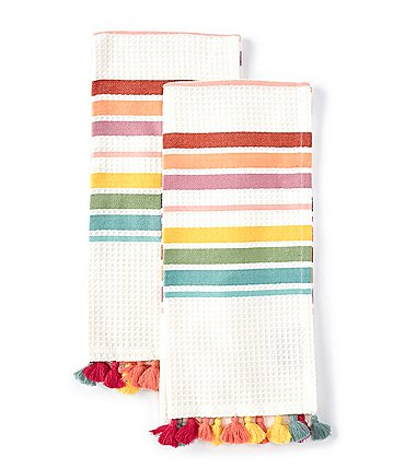 Image of Southern Living Striped Waffle Weave Kitchen Towels, Set of 2