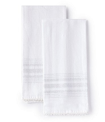 Image of Southern Living Silver Stripe Lurex Jacquard Kitchen Towel