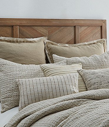 Image of Southern Living Simplicity Collection Fraser Linen & Cotton Woven Check Coverlet