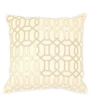 Image of Southern Living Spring Collection Embroidered Geo Square Pillow