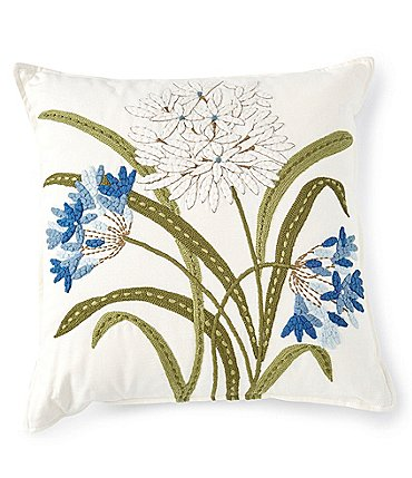 Image of Southern Living Spring Collection Floral Embroidered Square Pillow