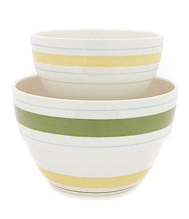 Image of Southern Living Citrus Statements Collection Striped Earthenware Mixing Bowl